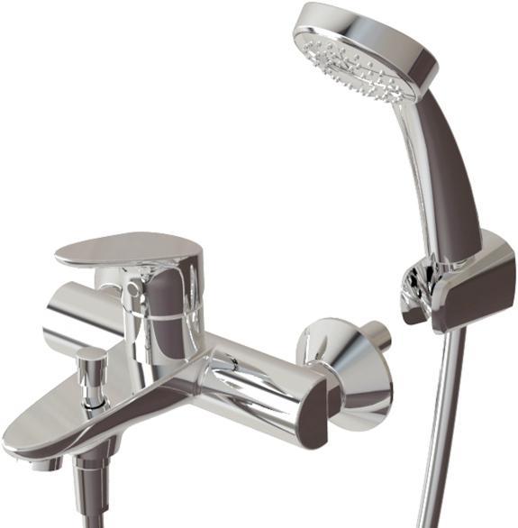 Фото Смеситель для ванны с коротким изливом с аксессуарами Bravat Drop (F64898C-B)
